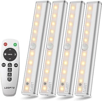 4pack Remote Control LED Lights Under Cabinet Lighting Bar Wireless Portable LED