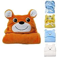 Hinmay - Toalla de bebé con capucha, suave forro polar de coral, mantas de baño para recién nacido, toalla de bebé para niños de 0 a 24 meses