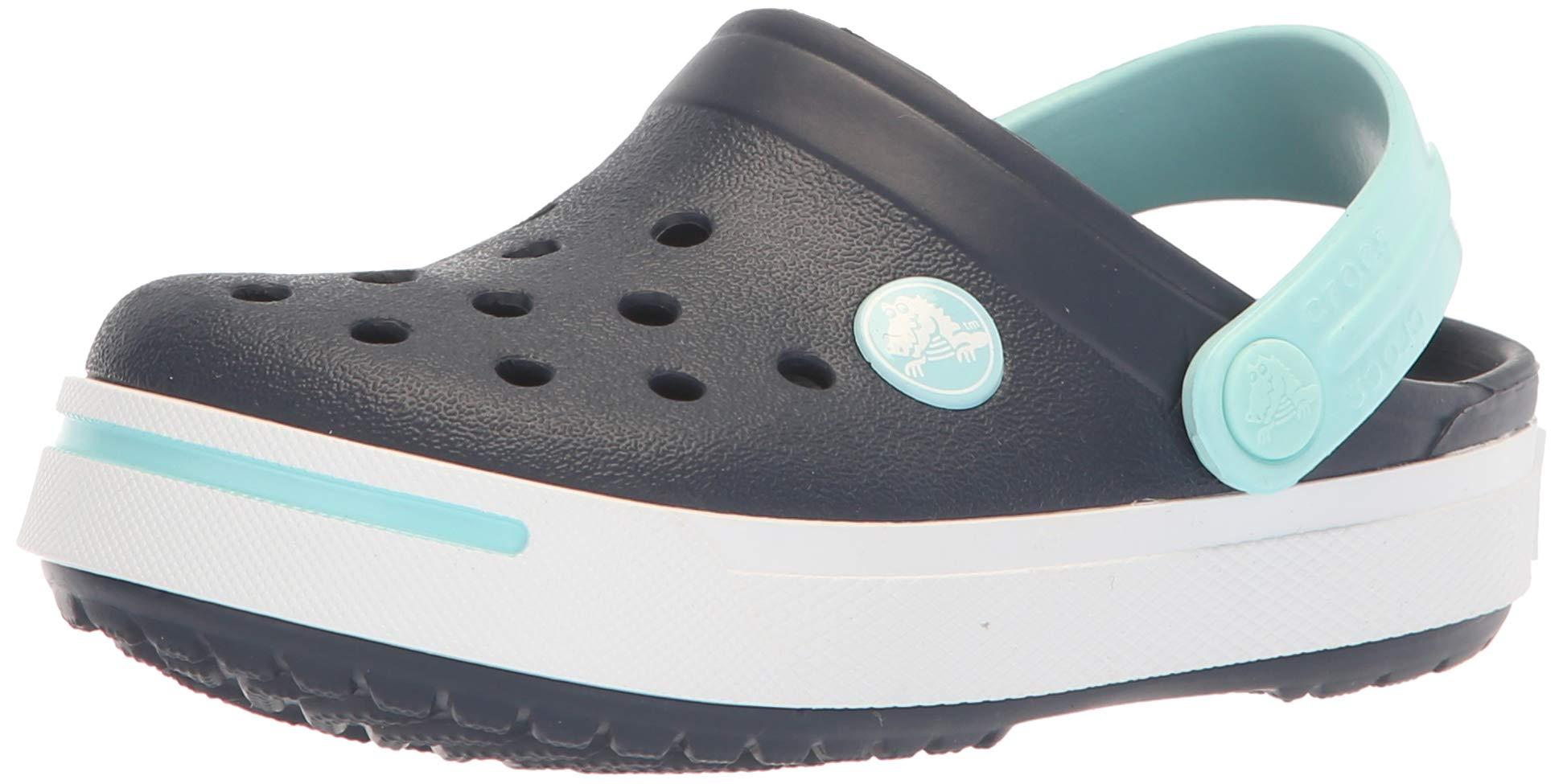 Crocs Unisex Crocband II Clog Shoe Navy/Ice Blue Little Kid Size 12-13