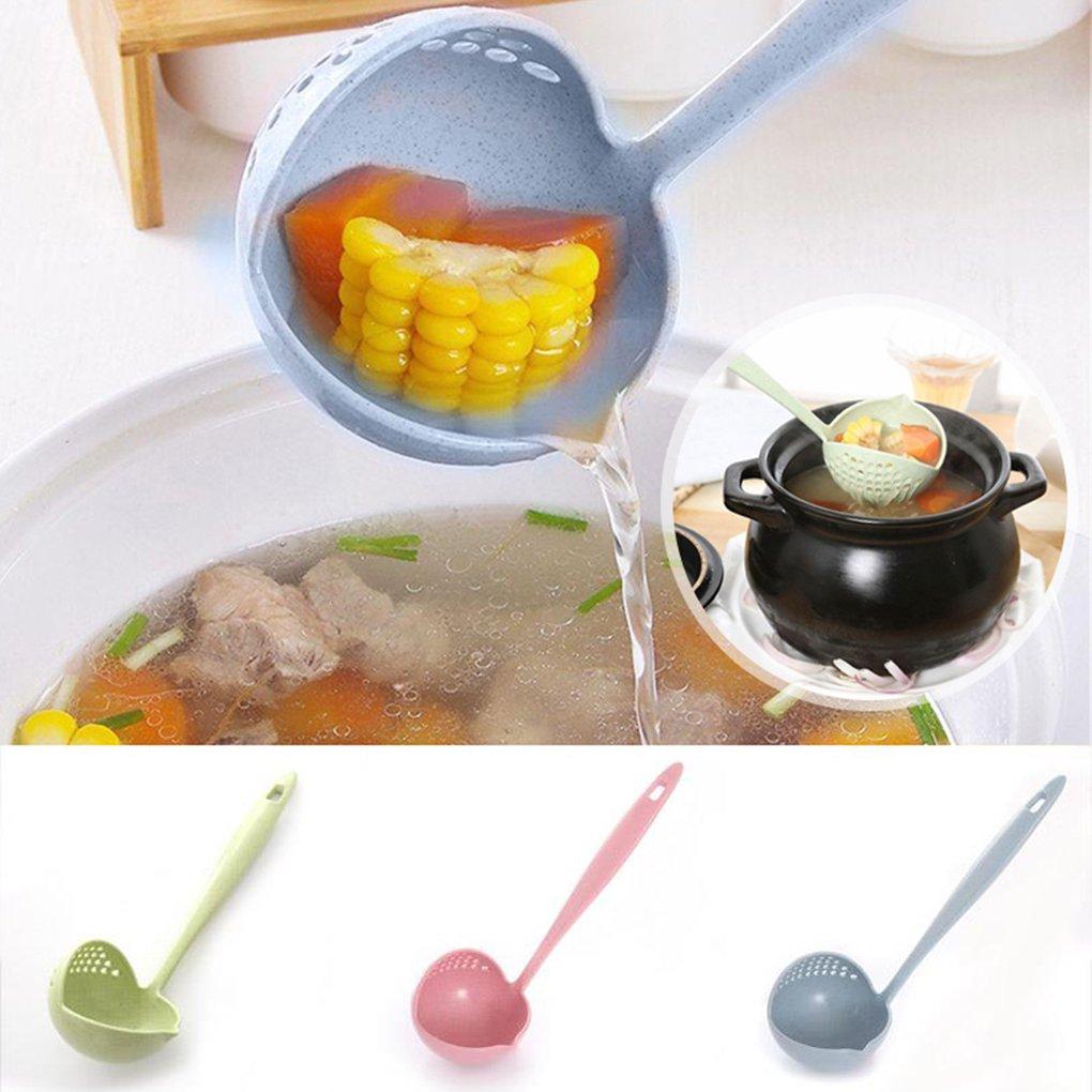 NAYUKY Mango Largo Cuchara de Sopa 2 en 1 Colador casero Cocina Colador Cuchara de Cocina Cuchara de pl/ástico Vajilla
