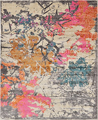 - Unique Loom Aurora Collection Abstract Botanical Vintage Beige Area Rug (8' 0 x 10' 0)