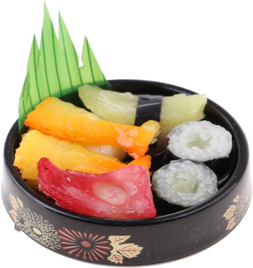 Baoblaze 1/6 scale Dolls House Miniatures Kitchen Decor Vivid Japanese Food Sushi Toys - Round Plate #A