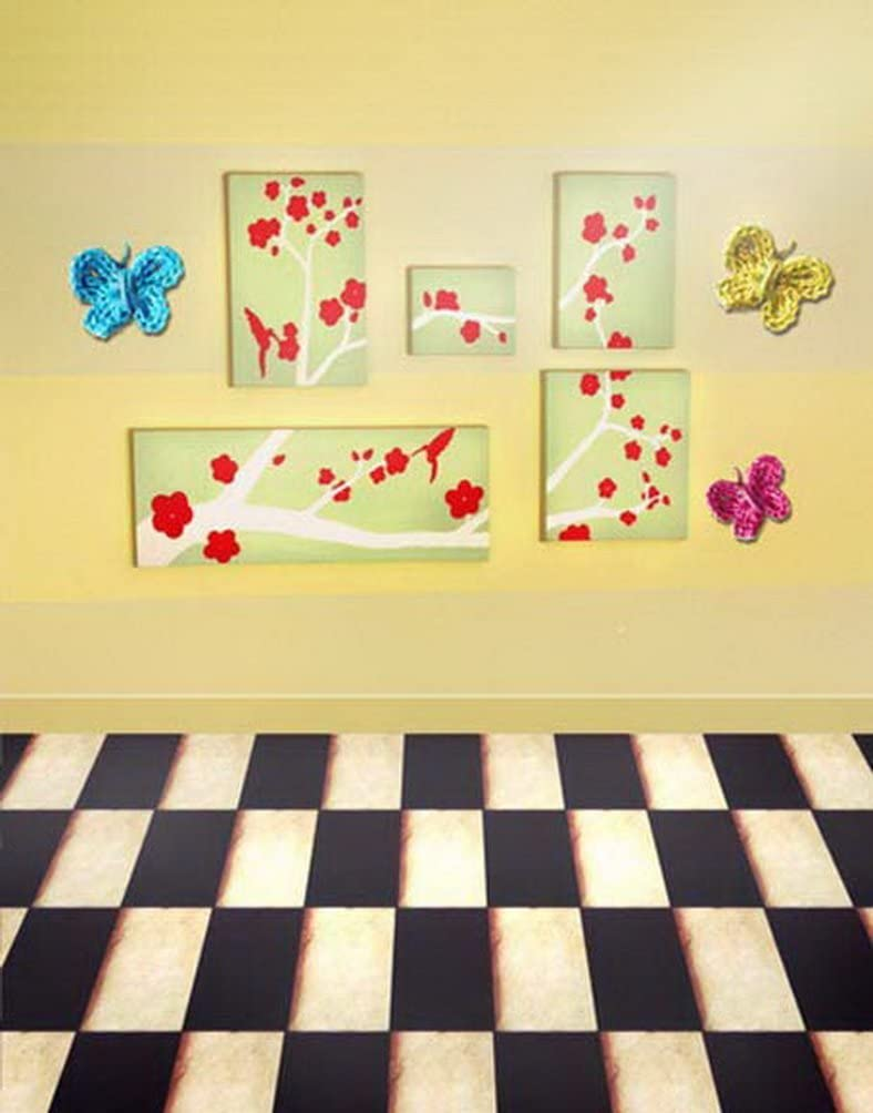 Brick Floor Butterfly Flowers Wall Photography Backdrops Photo Props Studio Background 5x7ft