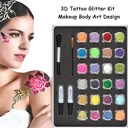 24 Colors 3D Tattoo Glitter Powder Temporary Tattoo Kit Shimmer Body Art Design Stencils Paint Beauty Tool AISHIMAN
