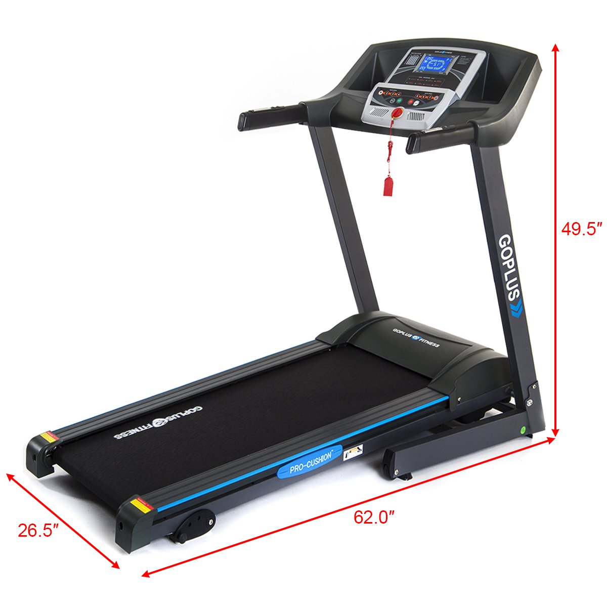 Goplus 2.25HP Folding Treadmill Electric Support Motorized Power Running Fitness Jogging Incline Machine g Fitness Jogging Incline Machine Fitness Jogging Incline Machine Black Jaguar Ⅱ(Classic) by Goplus (Image #4)
