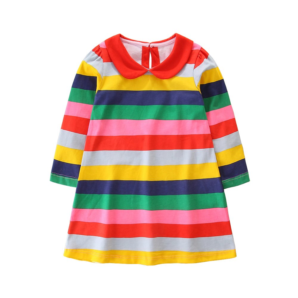Hongshilian Girls Long Sleeve Dress Cotton Cartoon Casual Dresses (7T, Stripe & Multicolor)