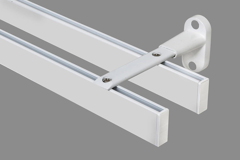 Rechteckige moderne Gardinenstange 35x14 mm Vorhangstange Innenlauf Wandbefestigung 2-Lauf-weiß-3,40 m ( 2 x 1,70 m + Verbinder)