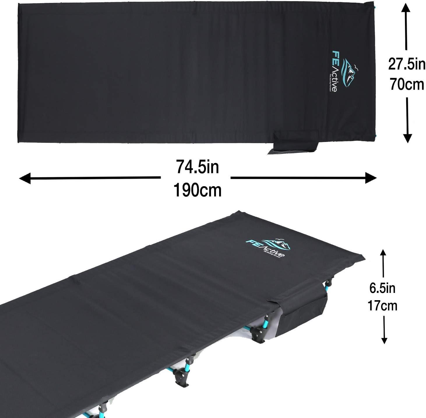 FE Active Cama Plegable Compacta - Cama de Camping Portátil Ultraligera Fuerte y Resistente. Cómoda para Adultos y Niños. Ideal para Acampar. Se ...