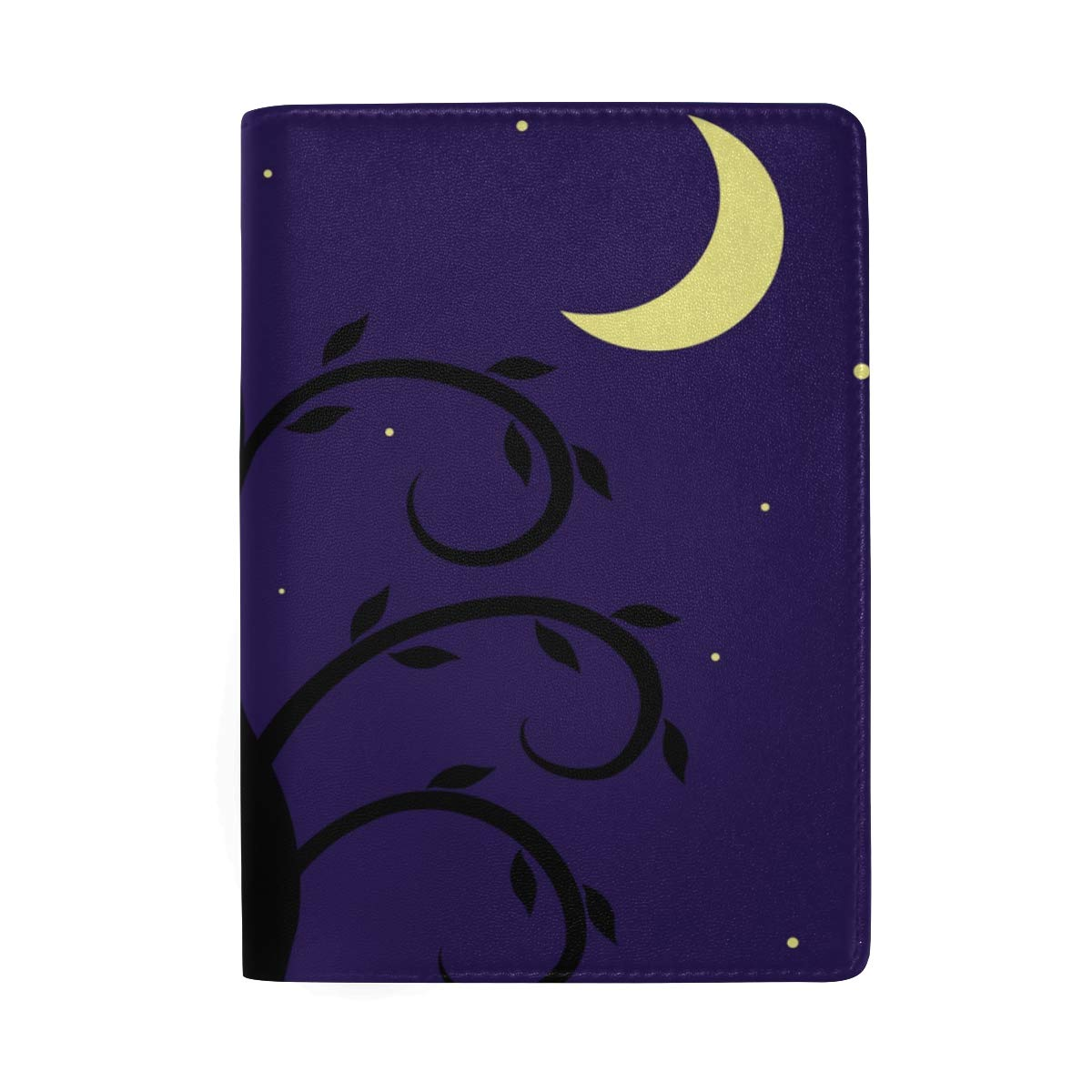 Starry Night Landscape Owl On Tree Abstract Leather Passport Holder Cover Case Protector for Men Women Travel with Slots