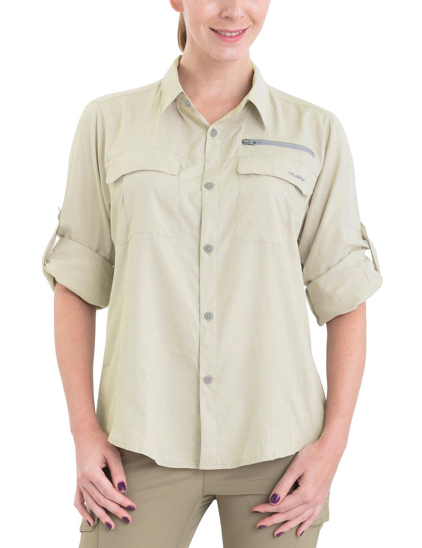 Baleaf Women's Lightweight Quick Dry UPF 50+ Long Sleeve Shirt Khaki L