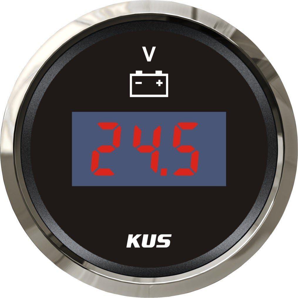 Kus Digital Voltmeter Spannungsmesser 9 32v 52mm 2 Mit Hintergrundbeleuchtung Schwarz Auto
