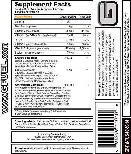 Gamma Enterprises G Fuel Nutrition Supplement, Peach Mango, 40 servings, 280 g