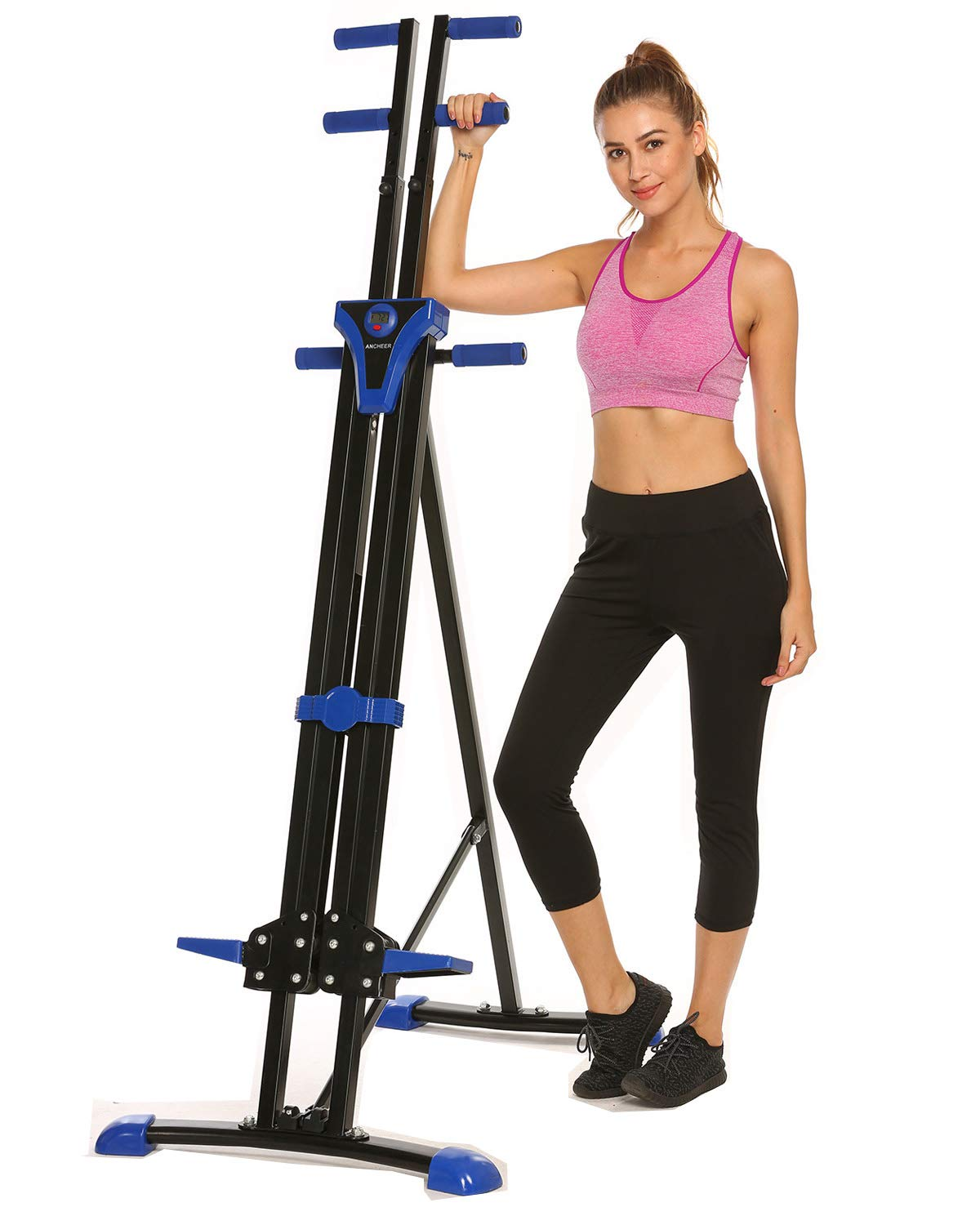 Hurbo Vertical Climber Home Gym Exercise Folding Climbing Machine Exercise Bike for Home Body Trainer Stepper Cardio Workout Training Non-Stick Grips Legs Arms Abs Calf (Black Blue) by Hurbo (Image #9)