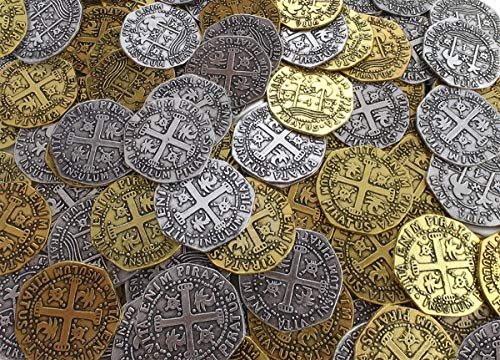 96 Metal Pirate Treasure Coins Zinc Replica Doubloon for Party Decorations or Birthday Favor Supplies