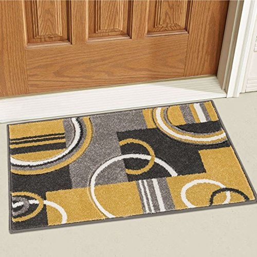 Well Woven 600113 Gold Galaxy Waves Modern Abstract Arcs and Shapes 2' x 3' Mat Accent Area Rug