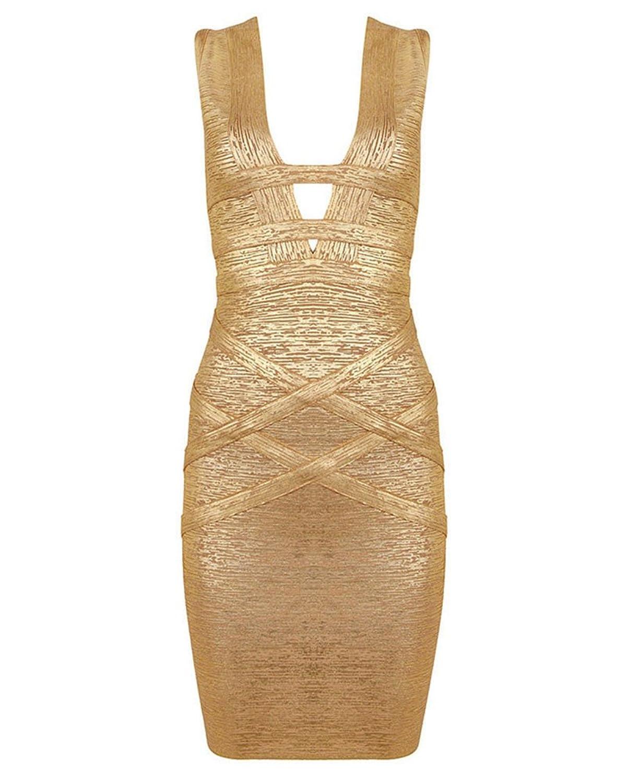 Whoinshop Damen Rayon V-Ausschnitt Goldfoliendruck Partei H¨¹llen Verband-Kleid