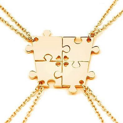 88ad552841529 SIVITE 4 Pcs Puzzle Best Friends Forever Necklace Engraved Heart Charm  Pendant Set BFF Friendship Necklace