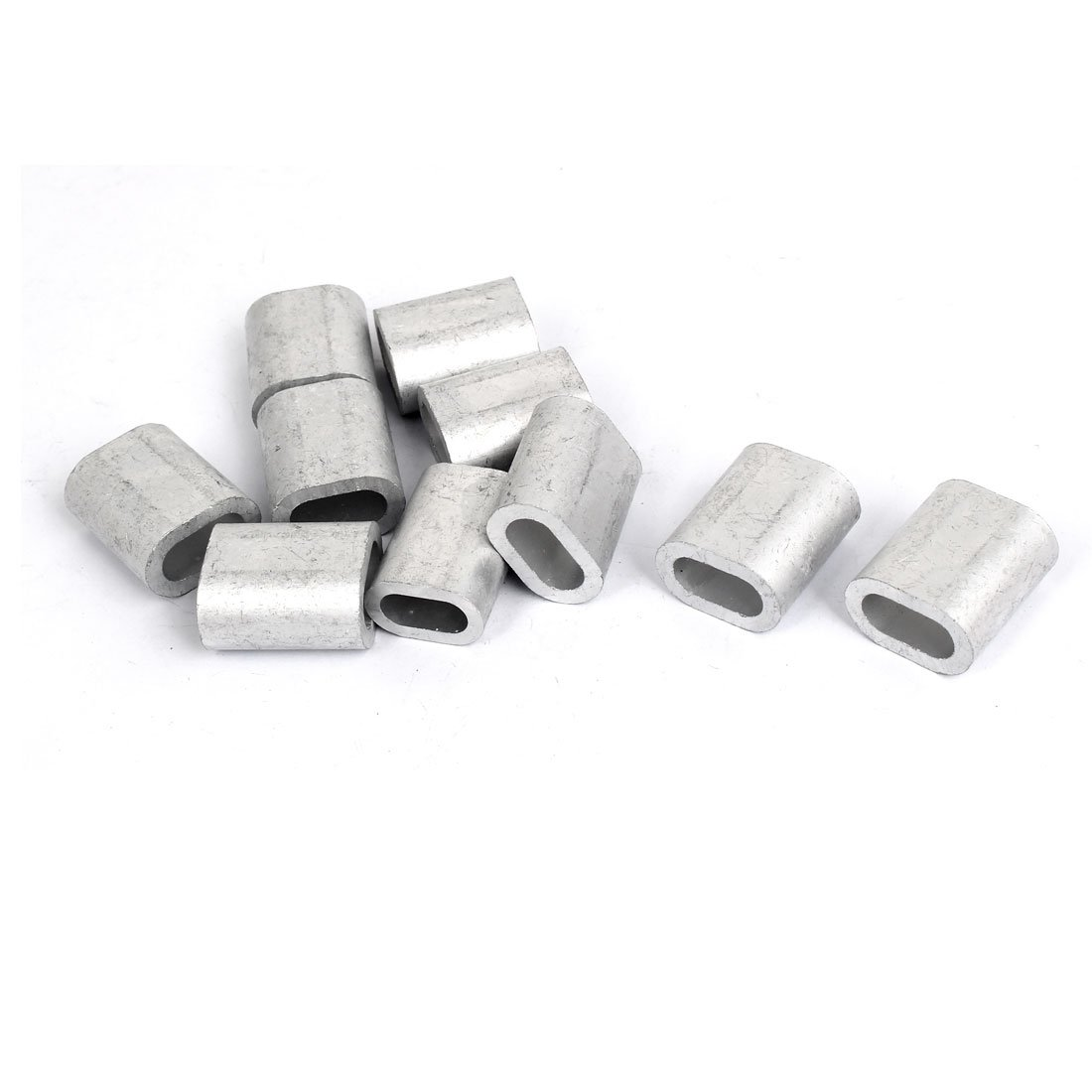 uxcell 8mm 5/16'' Steel Wire Rope Aluminum Ferrules Sleeves Silver Tone 10pcs