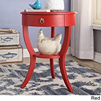 Tripod Round Wood Accent Table (Red)
