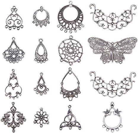 PH PandaHall 120 PCS 20-Style Antique Bronze Nickel Free Iron Filigree Findings for Jewelry Making