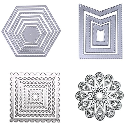 Dies Cut Cutting Die Nesting for Cards Making Scrapbooking Metal Stencils Wreath Sunflower Wavy Stitched Square Hexagon Sunflower Embossing for DIY Photo Album Decorative Embossing DIY Paper(Set - Hexagon Metal
