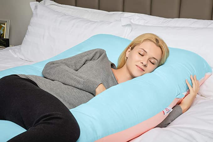 QUEEN ROSE Almohada con forma de U, Almohada de embarazo y maternidad con funda extraíble y lavable (140 x 78 cm, Algodón, Azul y Rosa)