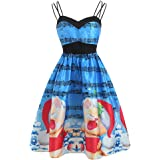 Qootent Women Sling Dress Christmas Vintage Evening Party Swing Cocktail Gown