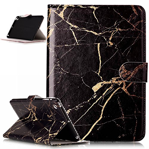 iPad mini Case,iPad mini 1 2 3 Case,ikasus Painted Marble PU Leather Fold Wallet Pouch Case Wallet Flip Cover Card Slots Stand Protective Case Cover for iPad mini 1 / 2 / 3 ,Black Marble (Louis Vuitton Ipad 2 Cover)