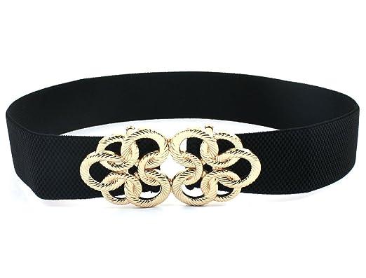 le plus populaire le dernier commercialisable Femmes Métal Interlock Tordu Cercle Fleur Buckle Élastique Ceintures Noires  - Noir,ton doré, Homme, Taille Unique