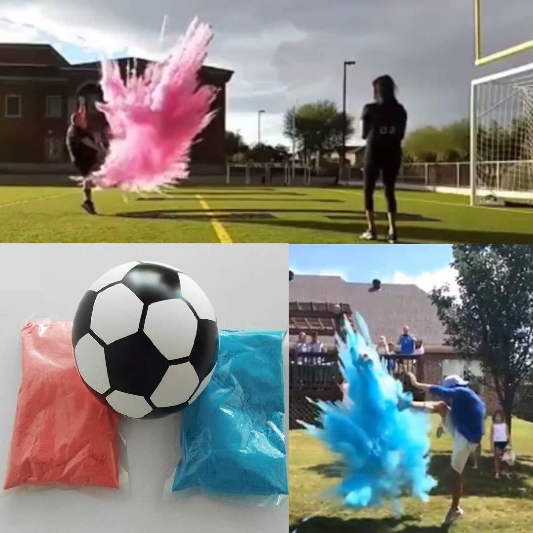 Gender Reveal Soccer Ball - Pink and Blue Kit for Baby Gender Reveals