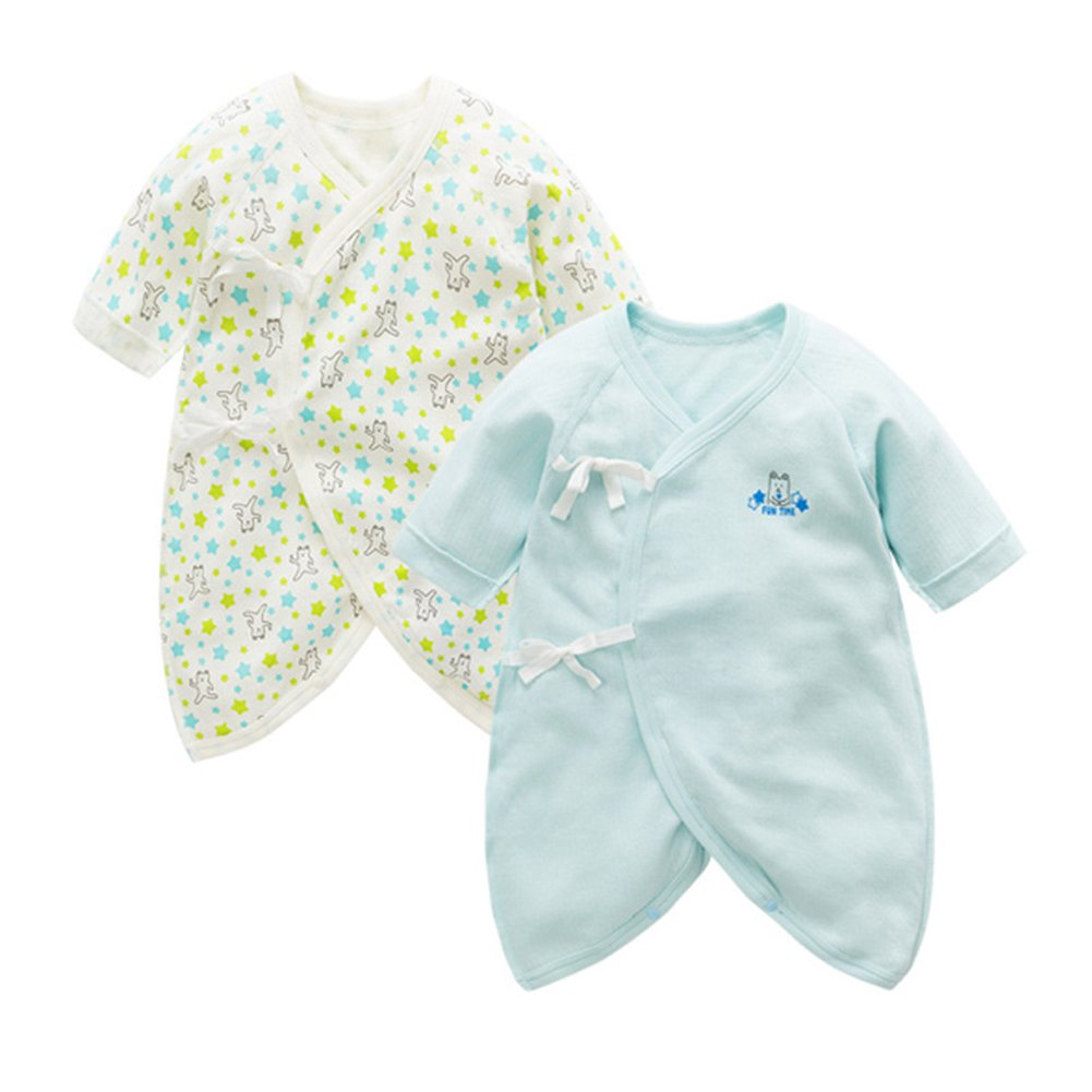 Fairy Baby Newborn 2 Pack Japanese Kimono Gown Cotton Floral Romper Pajamas Rainbow Trade(Hongkong)Co. Ltd