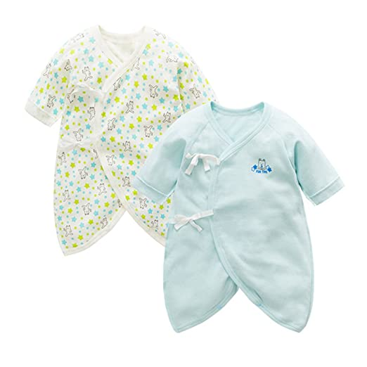 Fairy Baby Newborn 2 Pack Baby Clothes Japanese Kimono Gown Cotton Floral  Romper Pajamas Size 0 72ad4b9ce32d