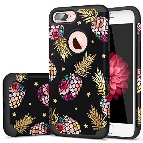 iPhone 7 Plus Case,Stars iPhone 8 Plus Case,Fingic Pineapple&Stars Design Printed on Hybrid Hard PC+Durable Rubber Protective Case Cover for iPhone 8 Plus/iPhone 7 Plus(5.5 inch),Black