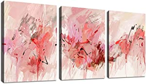 "Pink Abstract Wall Art Modern Canvas Pictures Abstract Contemporary Canvas Artwork for Girl Bedroom Living Room Bathroom Kitchen Office Home Wall Decor Framed Ready to Hang 12"" x 16"" 3 Pieces"