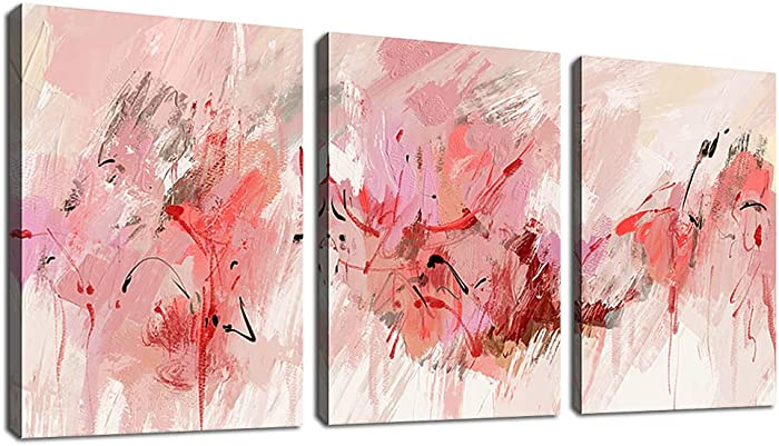 """Pink Abstract Wall Art Modern Canvas Pictures Abstract Contemporary Canvas Artwork for Girl Bedroom Living Room Bathroom Kitchen Office Home Wall Decor Framed Ready to Hang 12"""" x 16"""" 3 Pieces"""