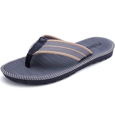 Men's Flip-Flops, Thongs Sandals Non-Slip Comfort Casual Slide Sandals Slippers for Beach Outdoors Indoors: Shoes