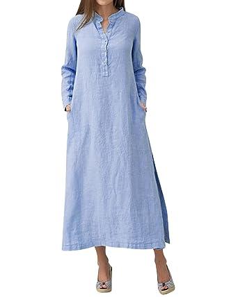 cce1cbe3ad LVCBL Women Casual Long Sleeve Linen Loose Kaftan Baggy Dress Plus Size  Blue S