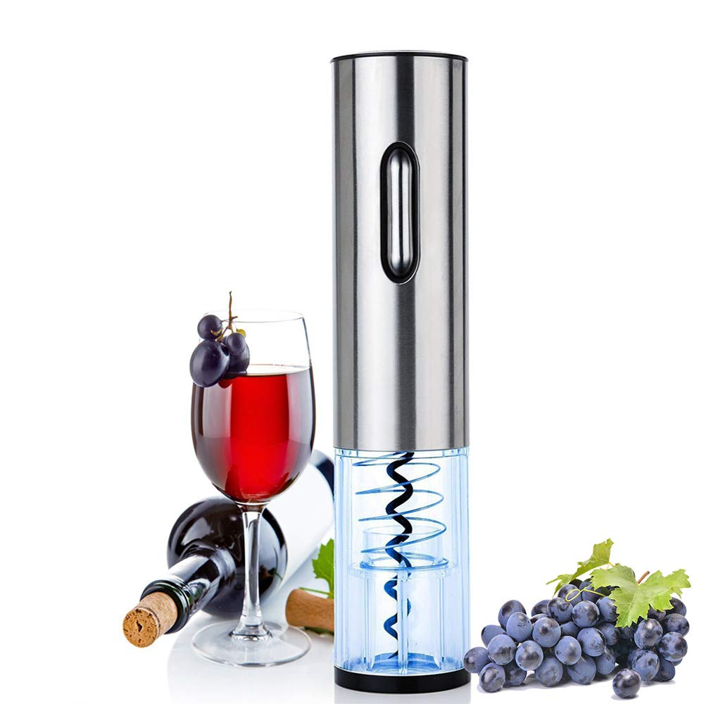 GOSCIEN Electric Wine Bottle Opener, Cordless Electric Wine Opener Rechargeable, Automatic Corkscrew with USB Charging and Foil Cutter (Base), LED Indicator Light-Stainless Steel by GOSCIEN