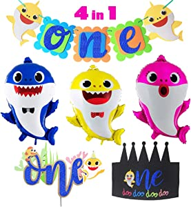 Baby Shark 1st Birthday Party Supplies Decorations,1 Cute Shark Banner,1 Big Shark Cake Topper,1 Doo Doo Shark Birthday Crown,3 Shark Family Balloons ,Baby Shark One Boy Girl Kid First Baby Shower Shark Birthday Party Decor