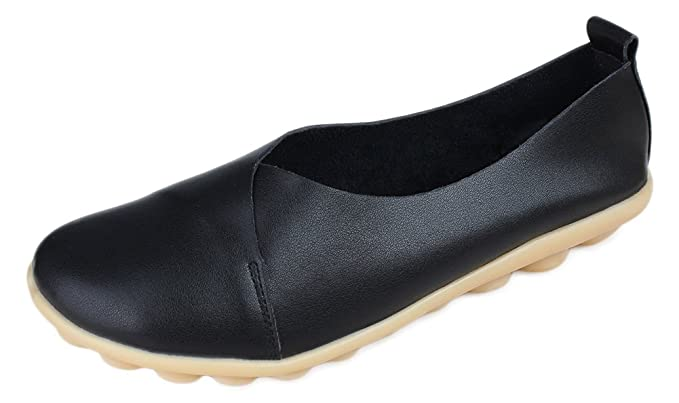 37c09cc2e2951 Kunsto Women's Leather Casual Loafer Flat Shoes(Buy One size down)