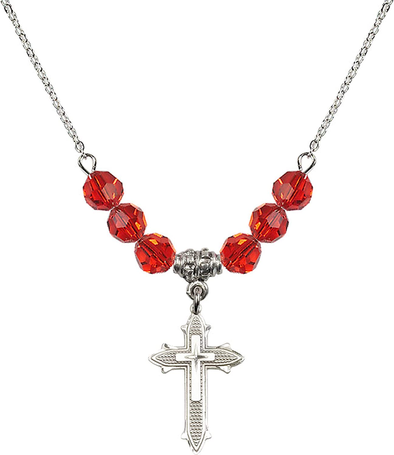 Bonyak Jewelry 18 Inch Rhodium Plated Necklace w// 6mm Red July Birth Month Stone Beads and Cross on Cross Charm