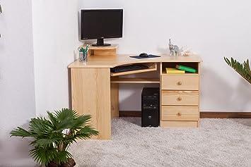 Mesa de escritorio en esquina Madera Maciza: Amazon.es: Bricolaje ...