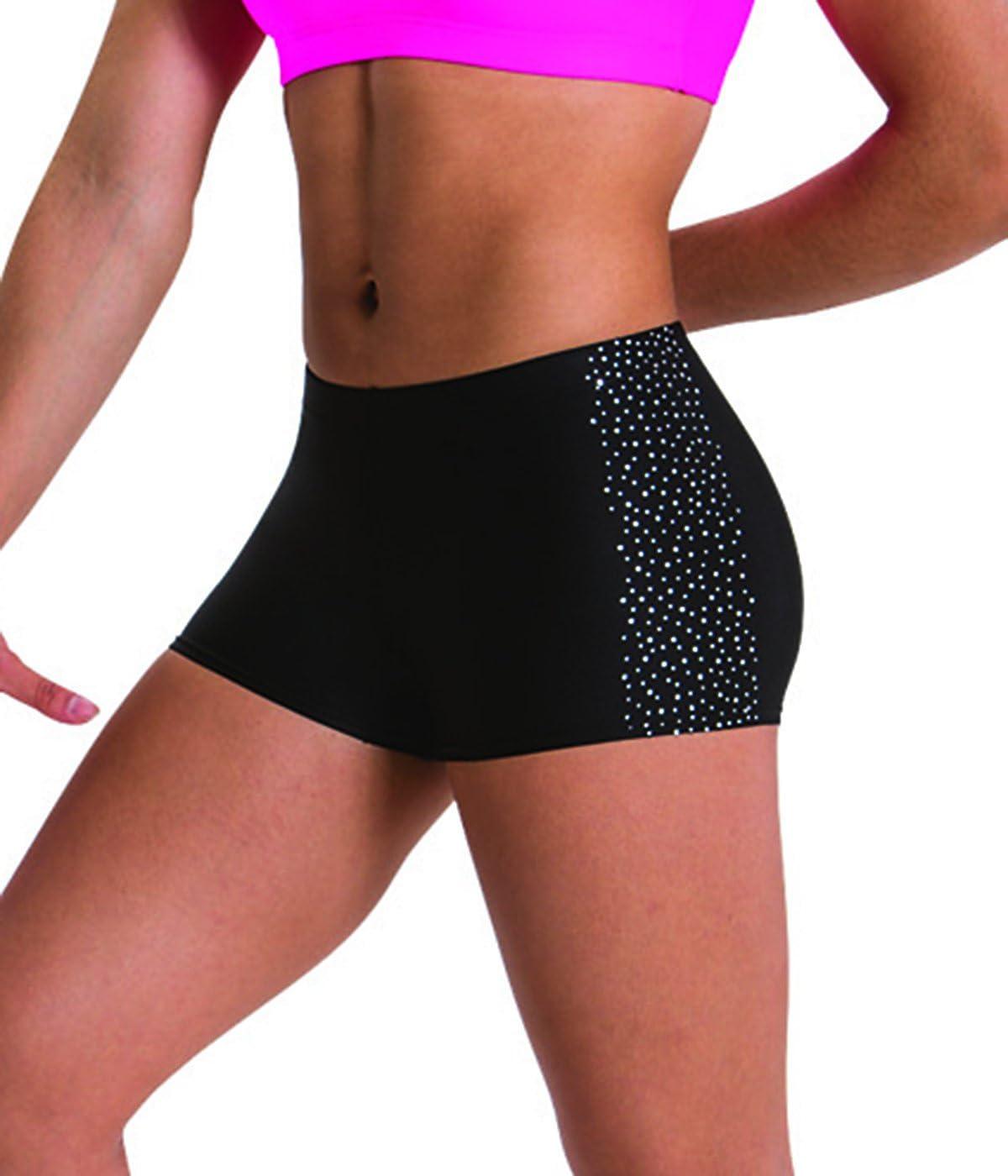 Motionwear Sparkle Gymnastics Side Rhinestone Spray Low Rise Shorts, Black, Medium Child
