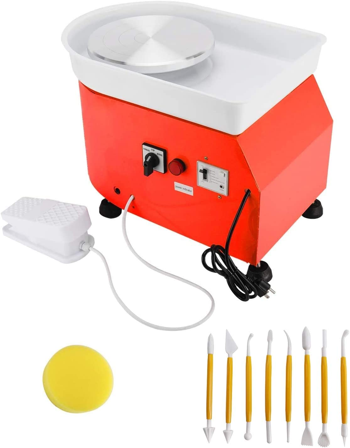 YaeKoo Electric Pottery Wheel Machine 25cm (9.8'') 350W Orange Clay Ceramic Work Forming Machine with Foot Pedal and Art Craft Shaping Tools