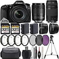 Canon EOS 80D DSLR Camera + Canon 18-135mm IS USM Lens + Canon 75-300mm Lens + 0.43X Wide Angle Lens + 2.2x Telephoto Lens + 64GB Storage + 4PC Macro Kit + UV-CPL-FLD Filters - International Version