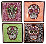 Day of the Dead Sugar Skulls Set of 4 Vibrant Appetizer Snack Plates