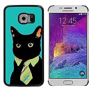 TopCaseStore / la caja del caucho duro de la cubierta de protección de la piel - Black Cat Tie Art Style Red Eyes Neon Feline - Samsung Galaxy S6 EDGE SM-G925