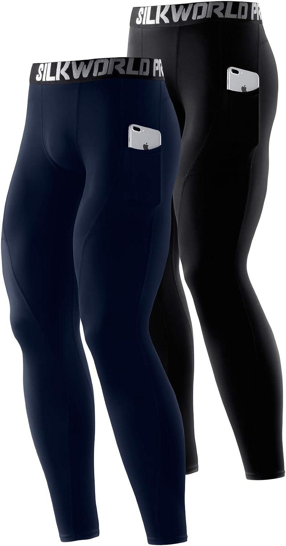 SILKWORLD Men's 1~3 Pack Compression Pants Pockets Dri Fit Gym Leggings Baselayer Running Tights