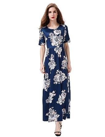 3218bab13b5 Aphratti Women s Bohemian Short Sleeve Floral Print Maxi Long Beach Dress  Small Navy Print