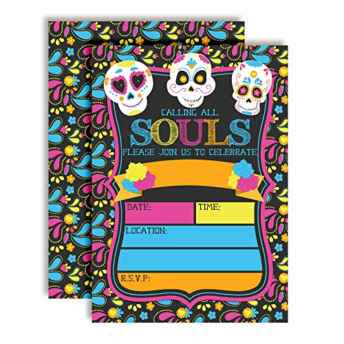 Sugar Skull Day of The Dead, Dia De Los Muertos, Colorful Halloween Birthday Party Invitations, 20 5